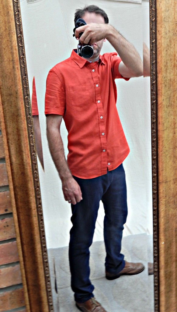 Red NACARA linen shirt EU29.99 and TOTRING cargo cotton and linen trousers EU39.99