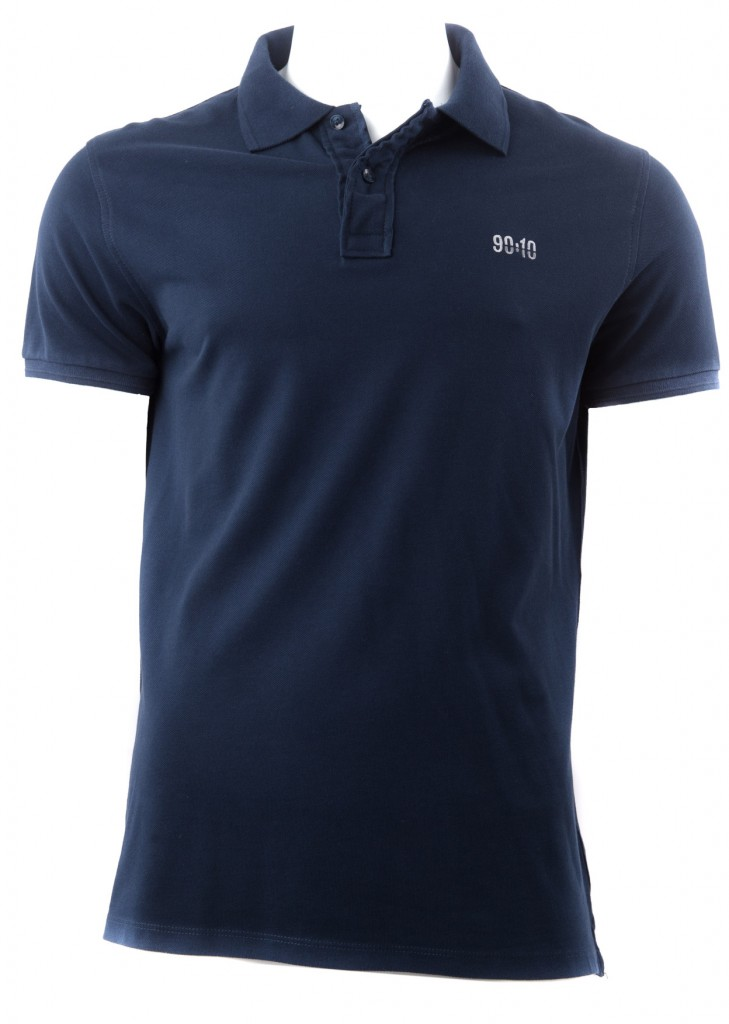 The ():10 classic pique polo shirt in dark blue.