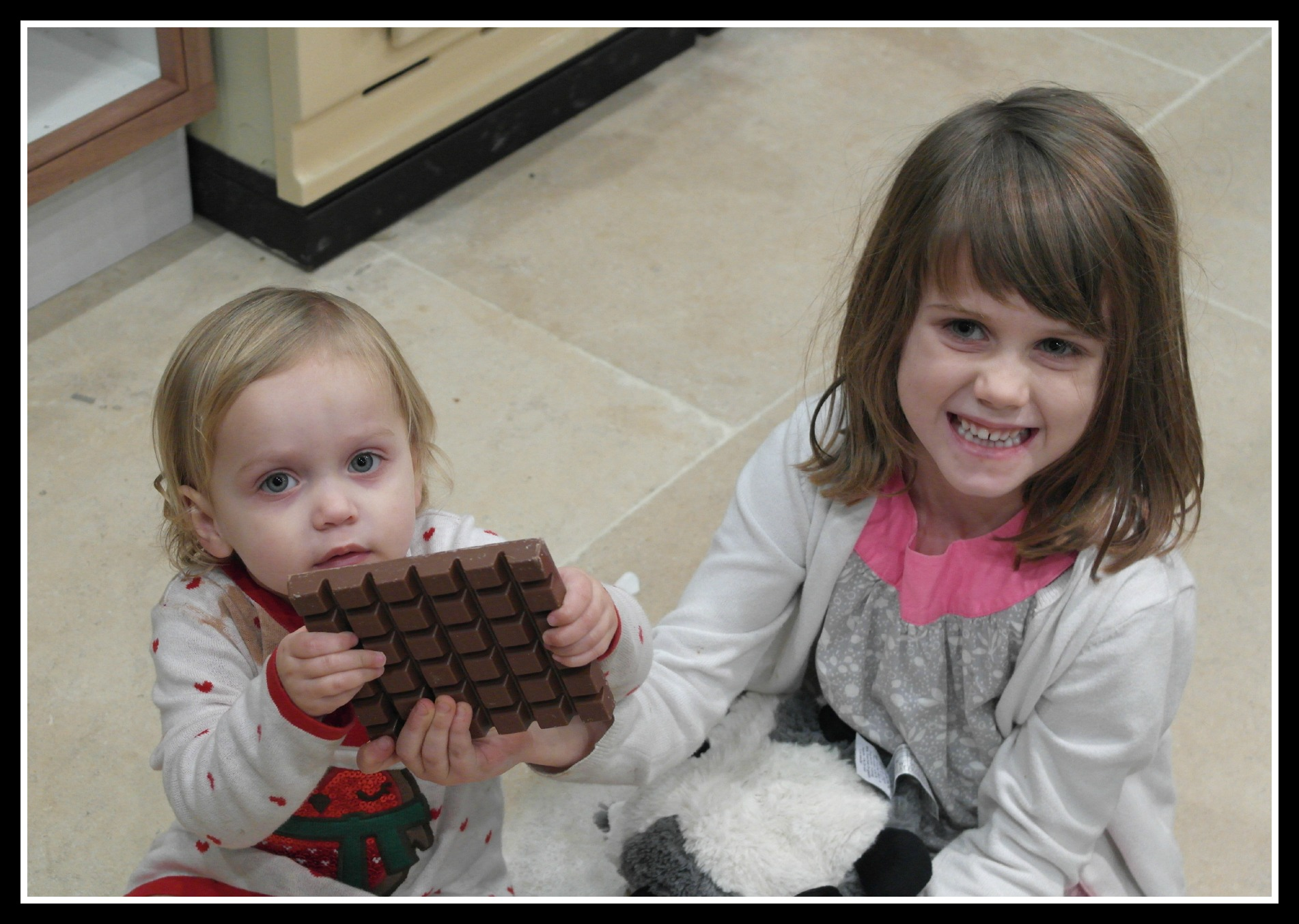 Two kids, one huge bar of chocolate. What happened next?