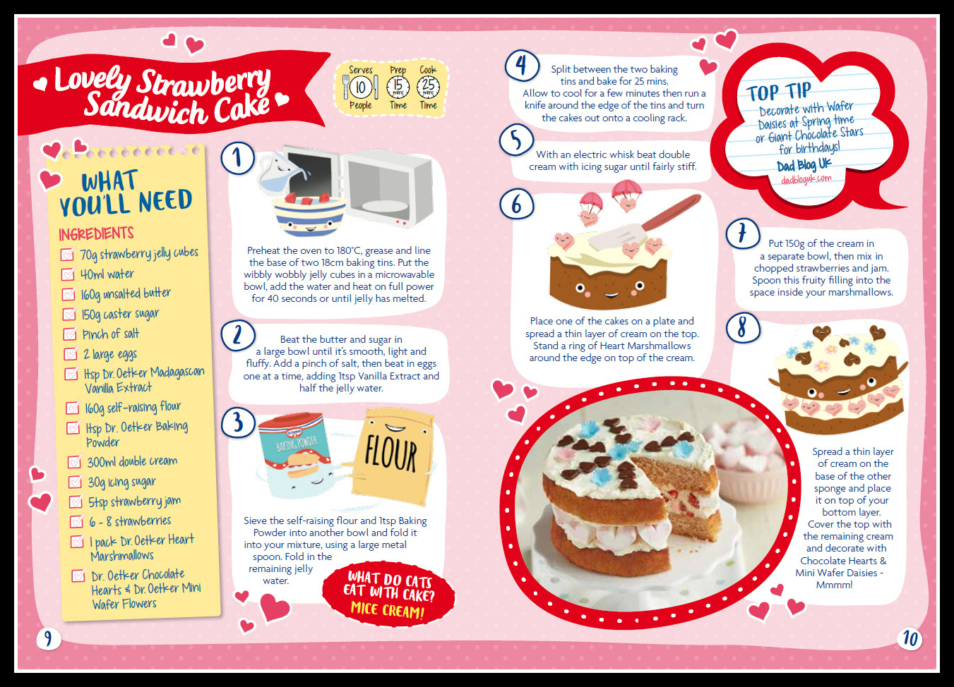 Dr Oetker, baking, baking with children, cake, strawberry sandwich cake, Mother's Day, cake recipe, cake recipes
