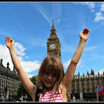 Excited children and Big Ben; a superb mix