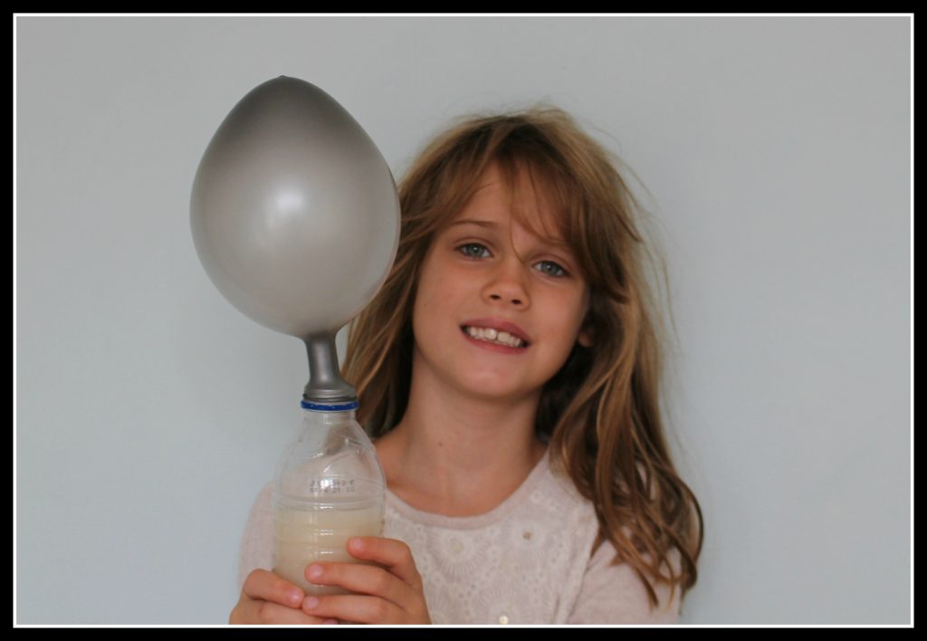 yeast balloon, House of experiments, easy science experiments for children, science experiments you can do at home