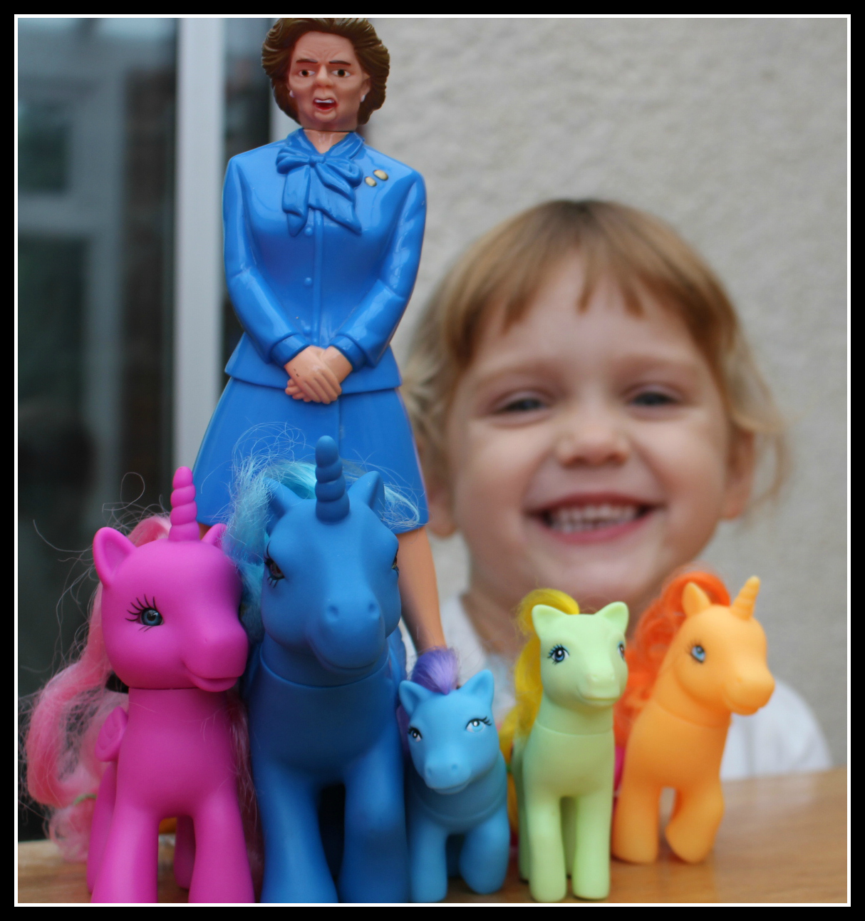 Margaret Thatcher goes riding on a unicorn
