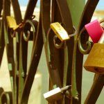 Love locks fixed to the Ponta Romana