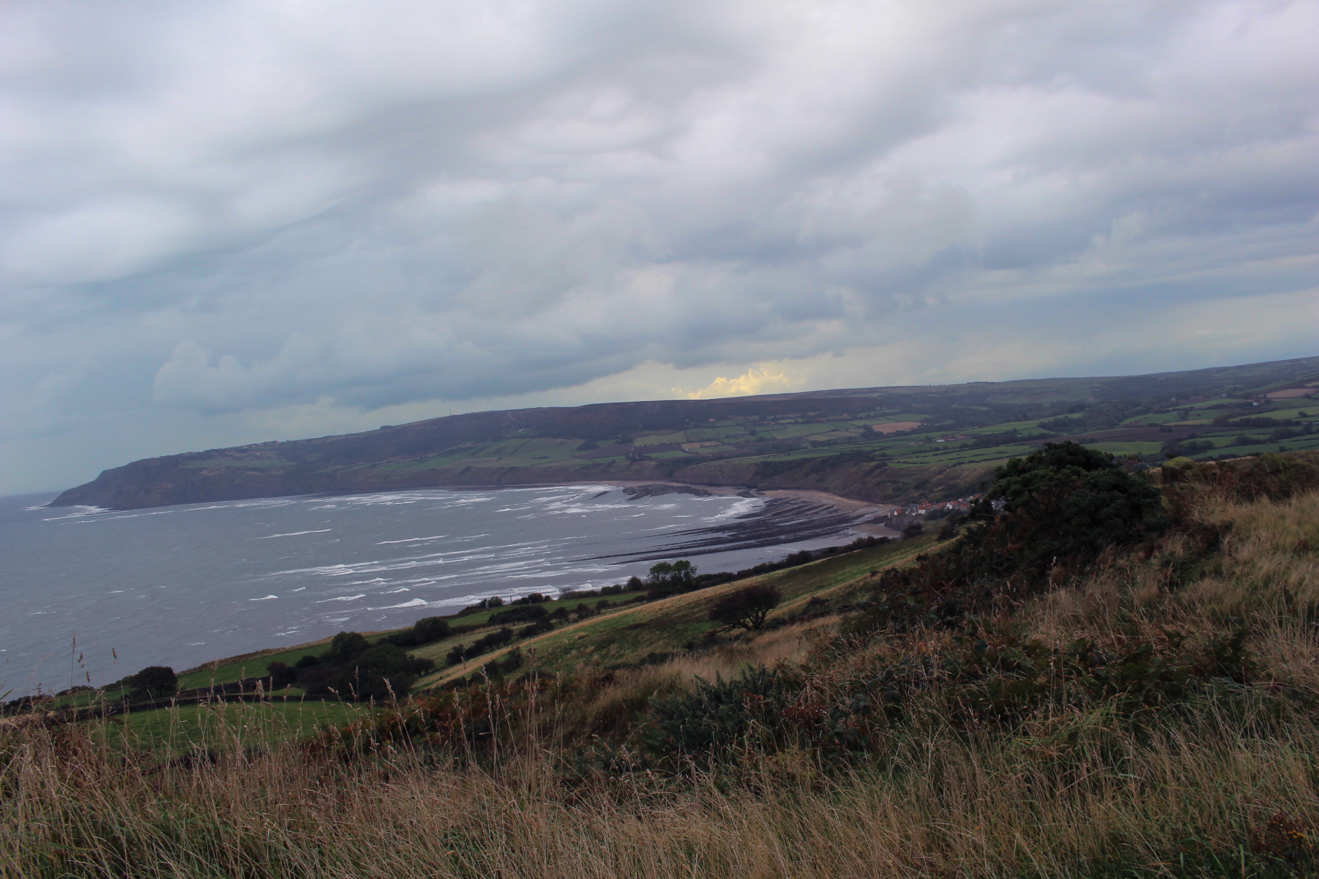 A windy, rainy Robin Hood's Bay