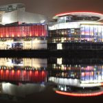 Night time view from Quay 9, Media City UK