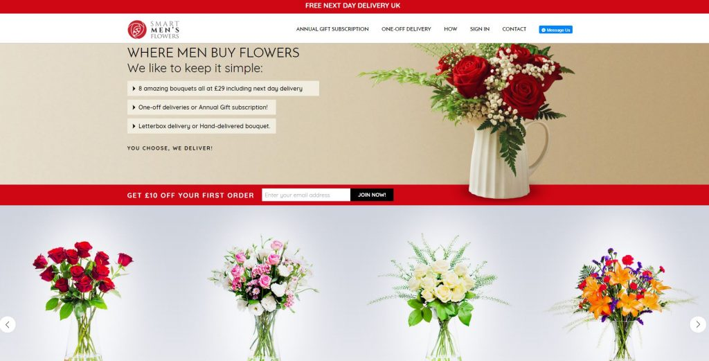 Smart Men's Flowers, reviews, flower delivery service