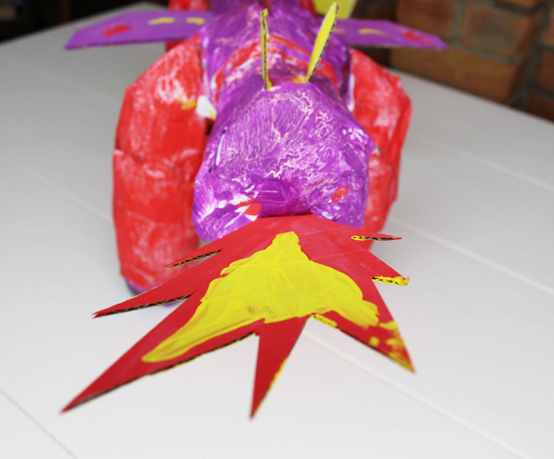 dragon, paper mache dragon, arts and crafts for children, paper mache model, craft project