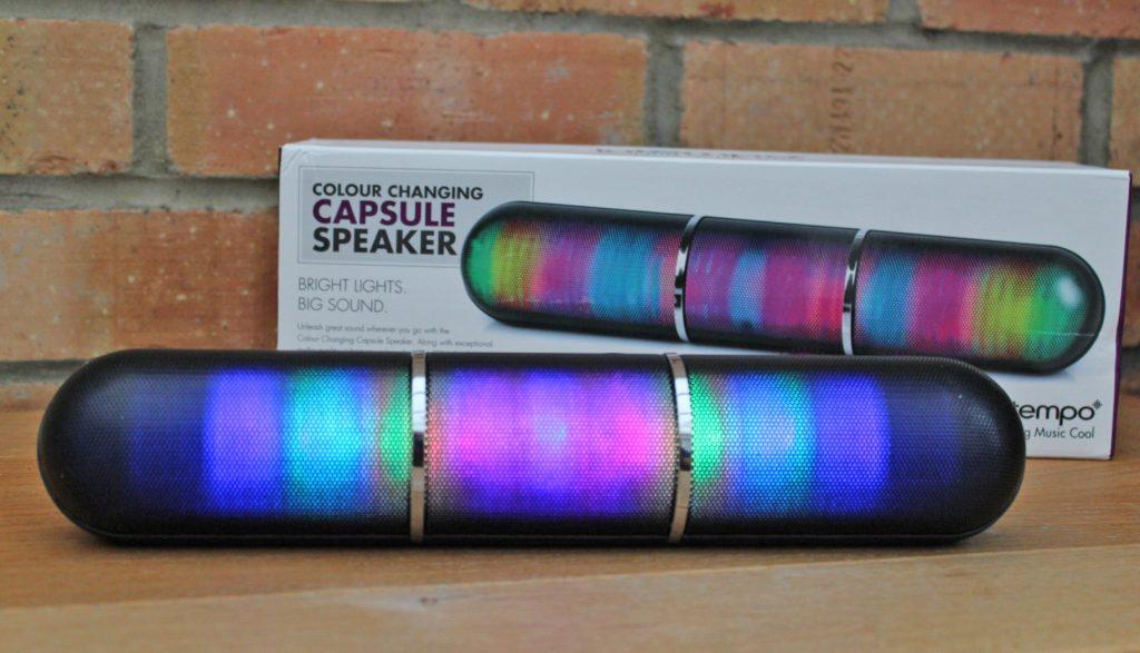 Intempo, wireless speaker, LED speaker, capsule speaker, dad blog uk, dadbloguk.com