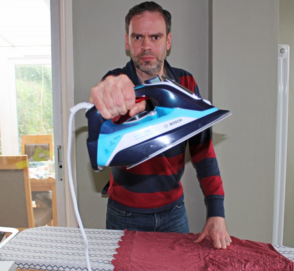 Blogger Holding Bosch Steam Iron