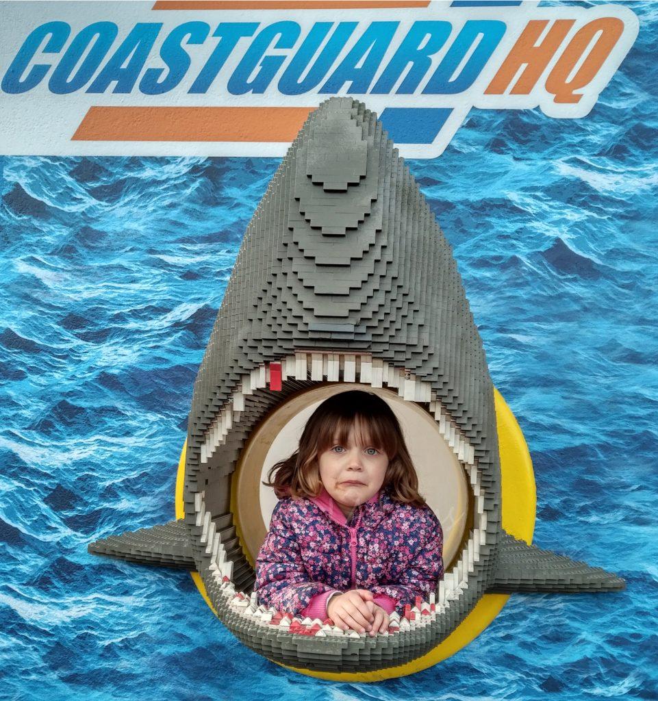 Lego model of a shark.