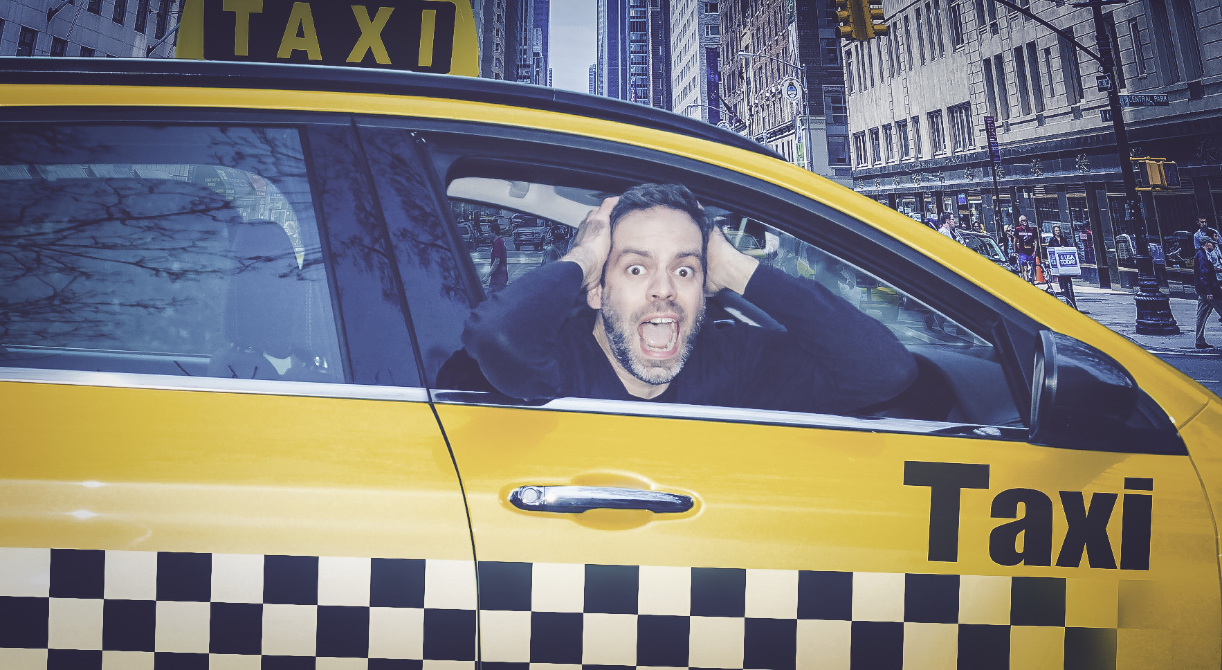 Behind the wheel of the Dad Taxi