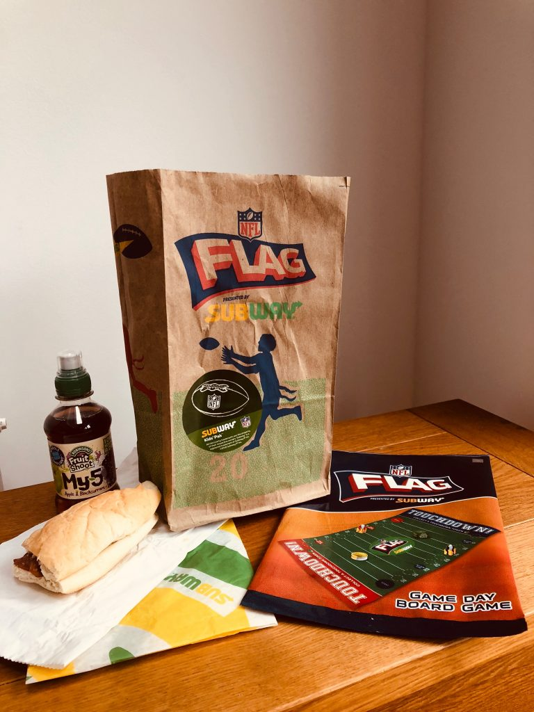 Subway, NFL, NFL Flag, NFL Kickoff on Piccadilly, dadbloguk, dadbloguk.com, uk dad blogger, dad blog uk, active children, NFL Kids' Pak, sport for children, sport for kids, mixed sports