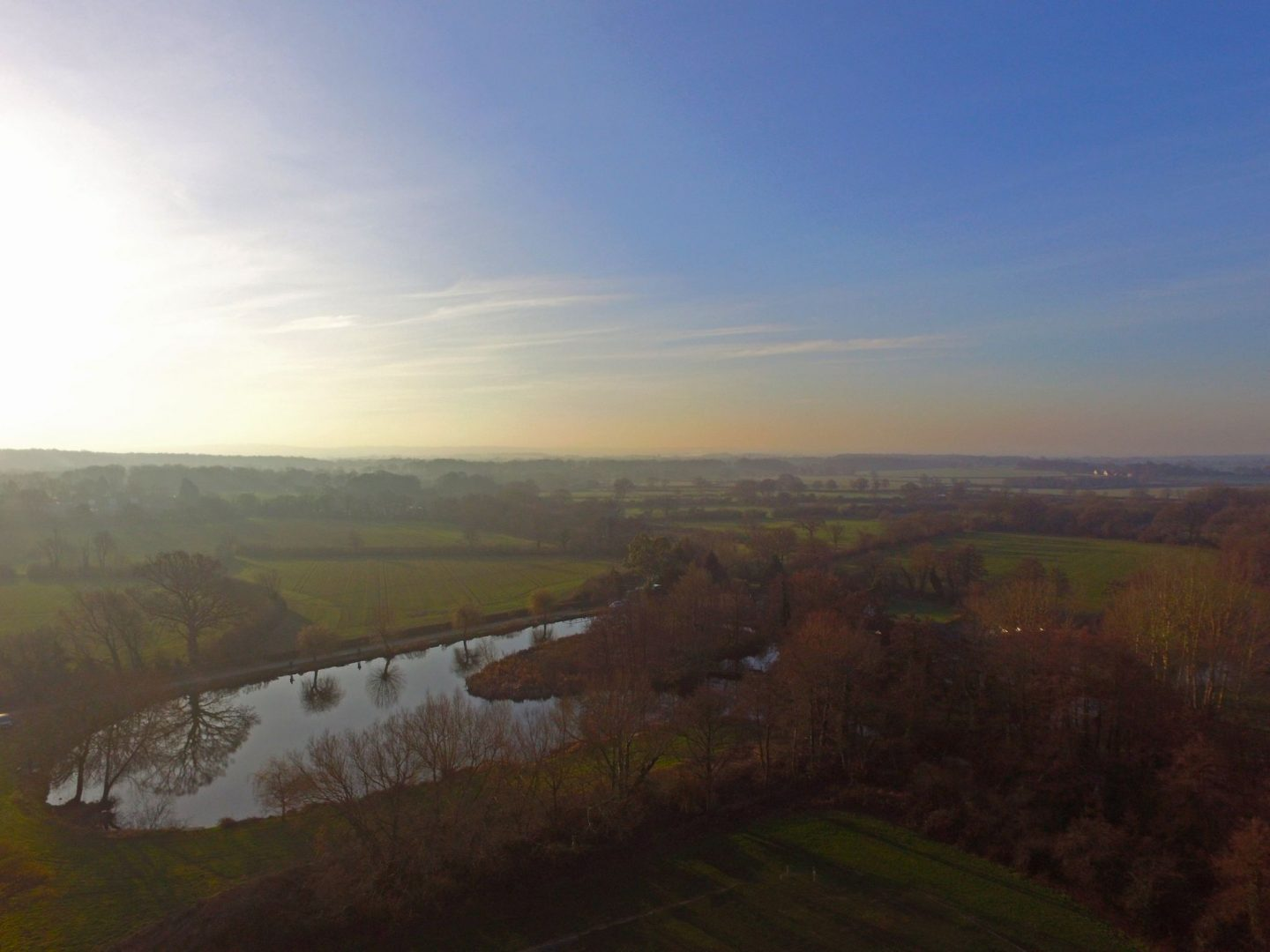 Surrey, Sussex, early morning photograph, reflections, drone photograph, aerial photography, dadbloguk, uk dad blogger