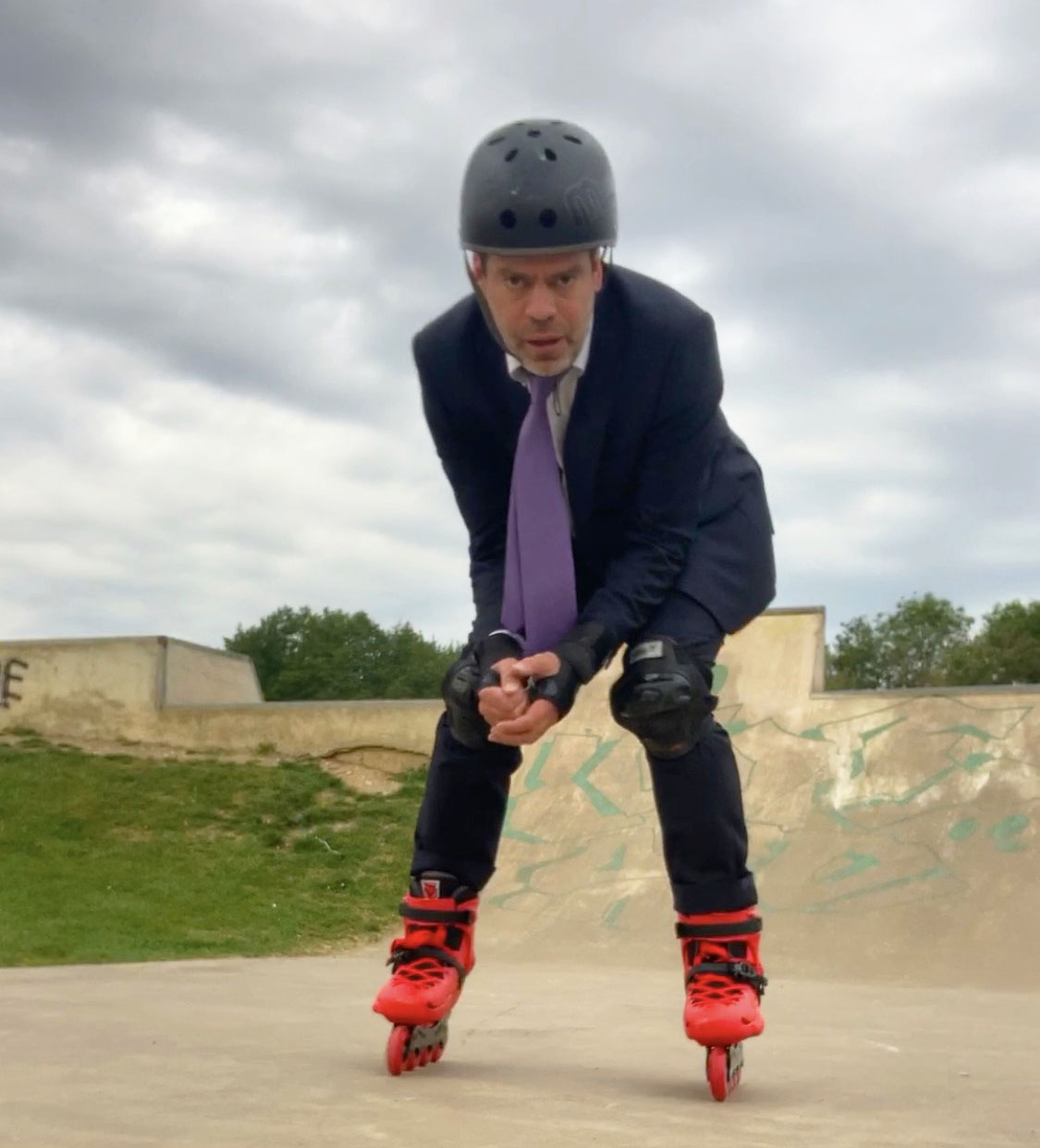 Inline skates in use at the skate park.