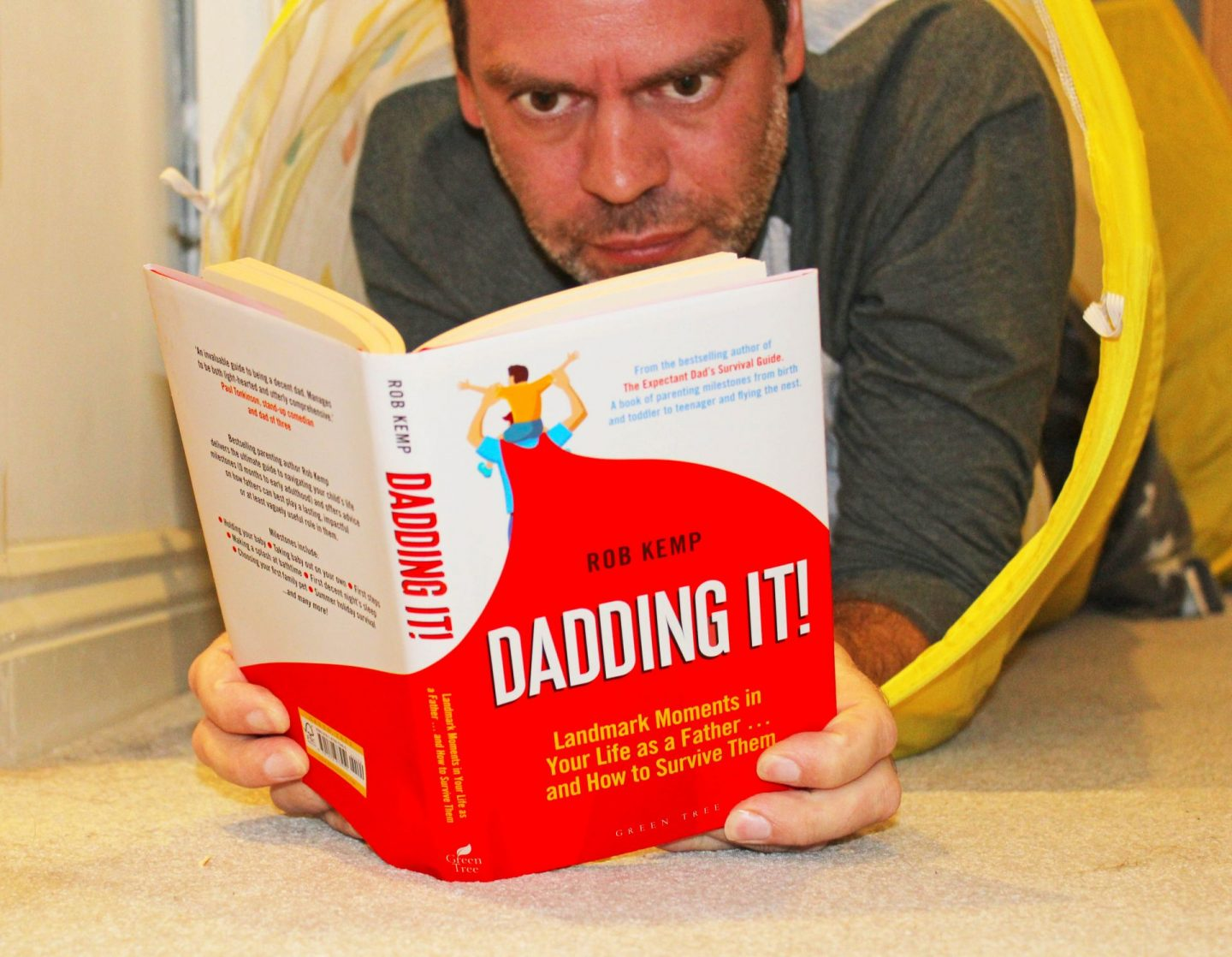 John Adams of Dadbloguk reading Dadding It! by Rob Kemp.