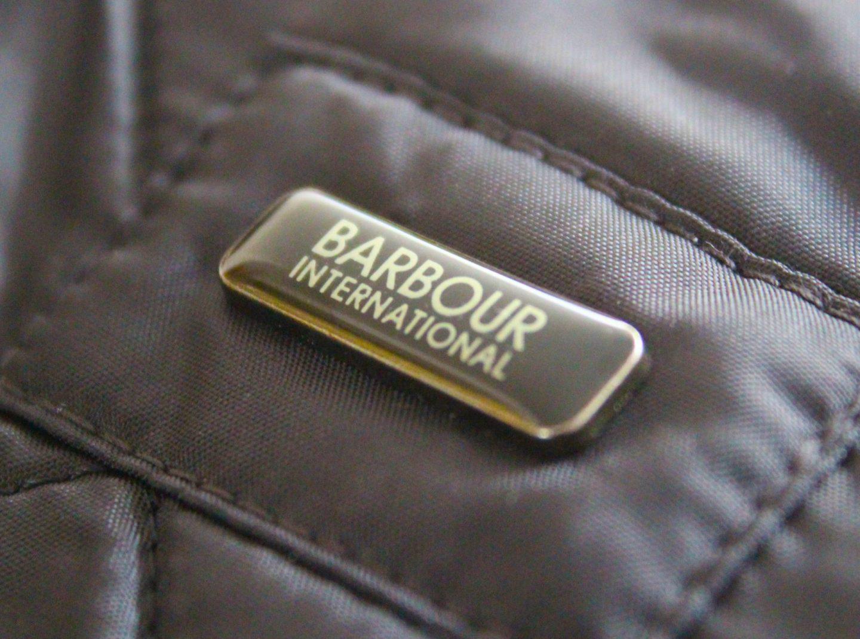 Barbour International label on Ariel jacket.