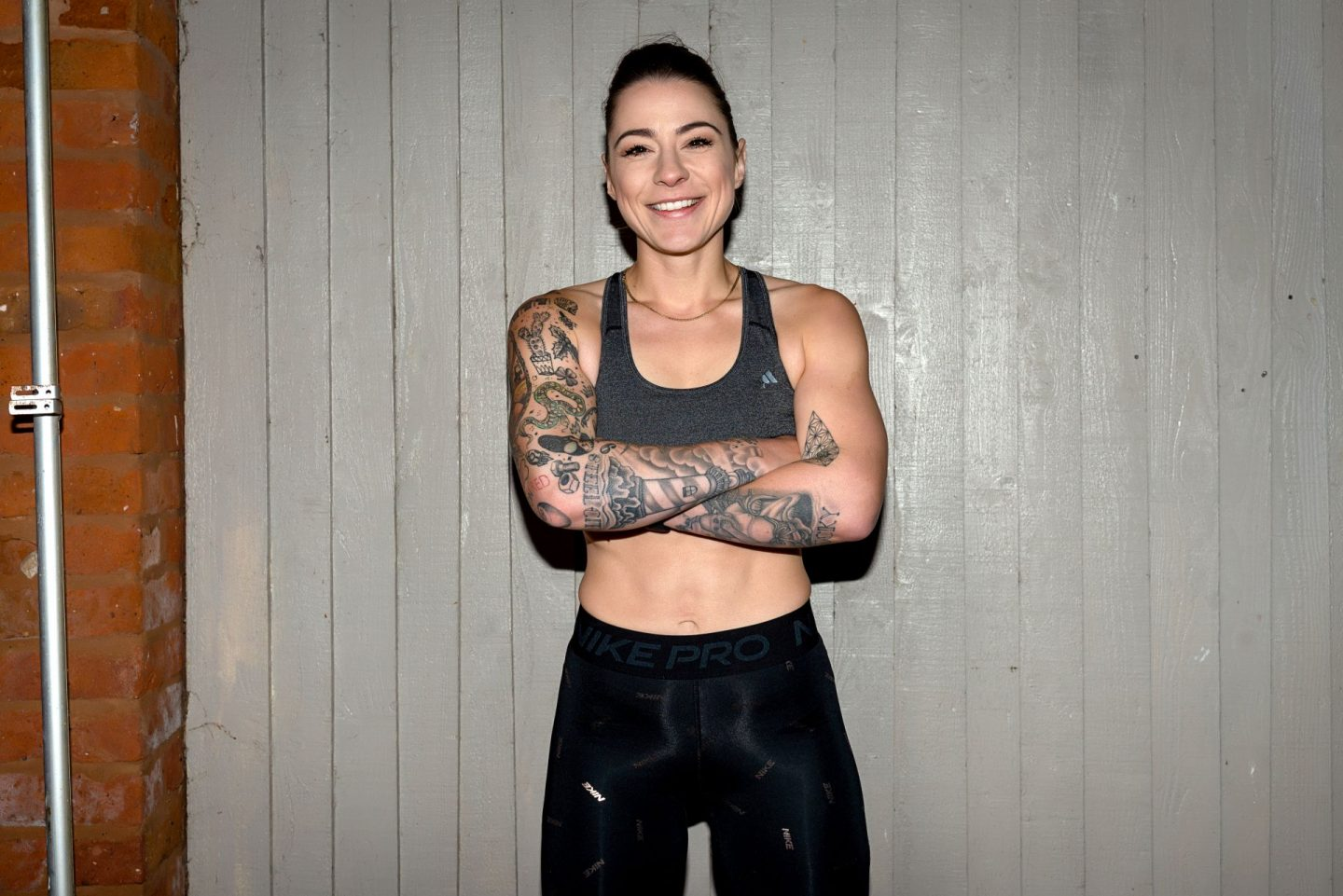 Singer songwriter Lucy Spraggan during fitness workout.