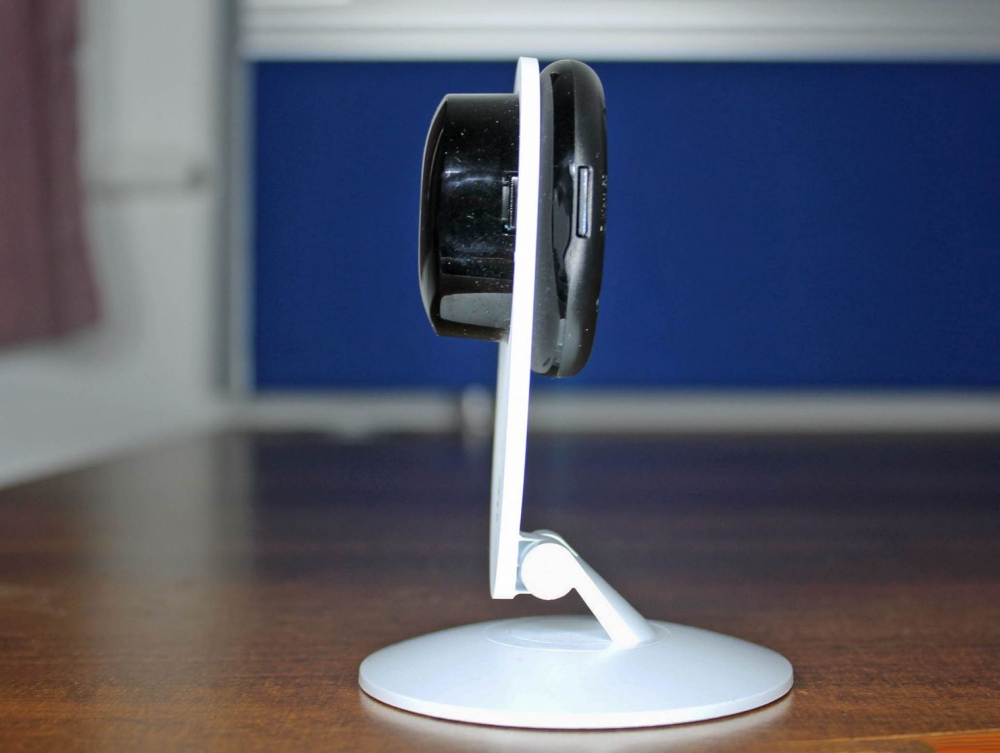 YI technology home security camera in profile