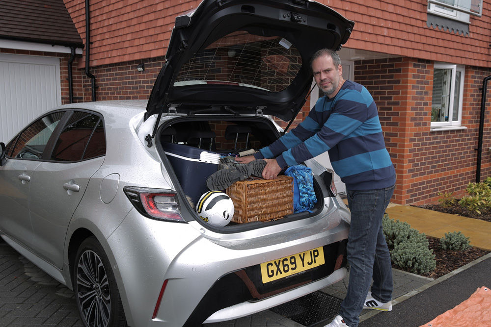 Car loading hacks, car loading tips, Toyota Corolla Hybrid.