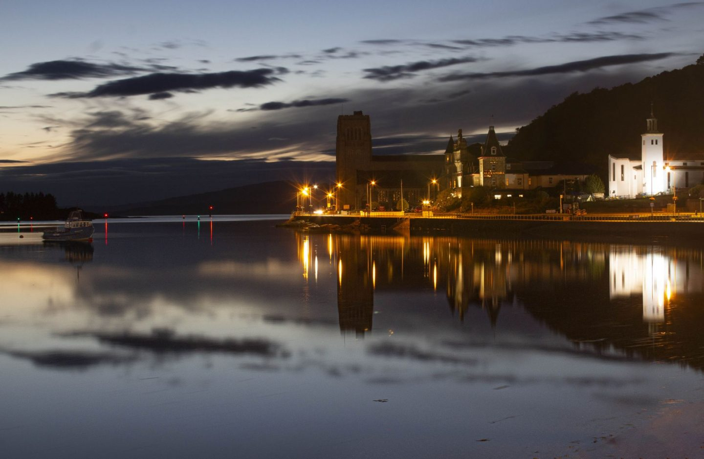 Looking out to the sea from Oban at night time.