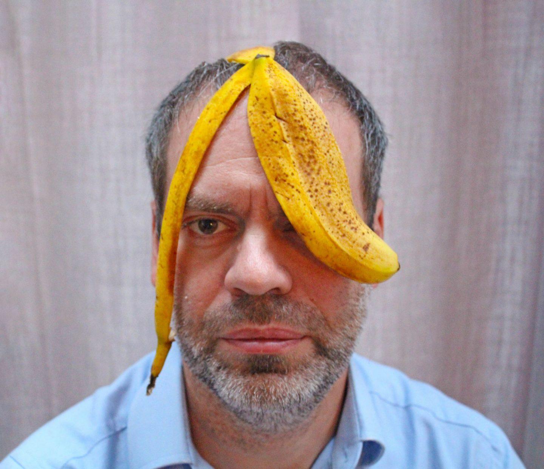 Man with banana skin on his meahd marking Zero Waste Week.