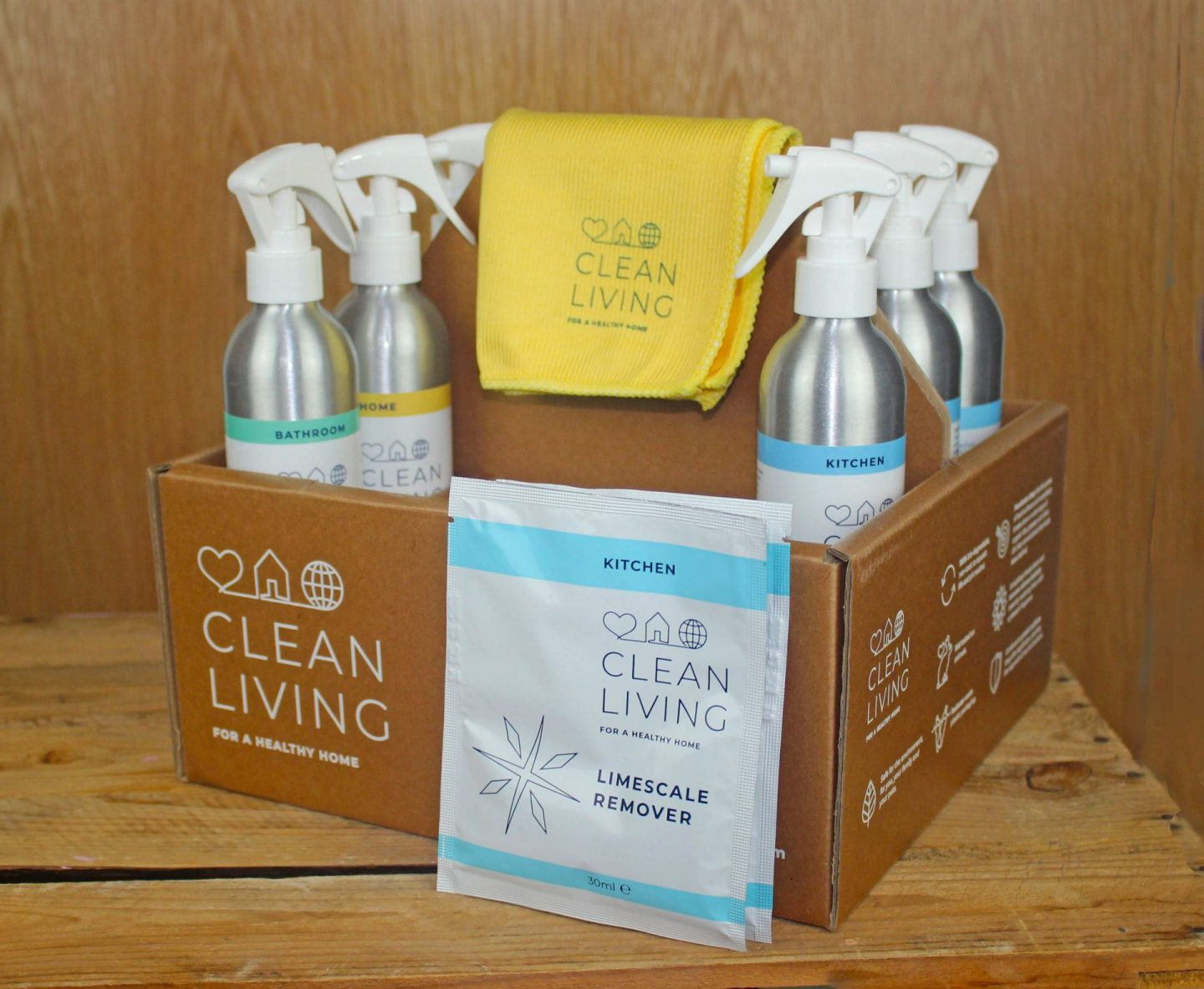 the Clean Living Complete Cleaning Kit, filled with environmentally friendly cleaning products  from Clean Living International