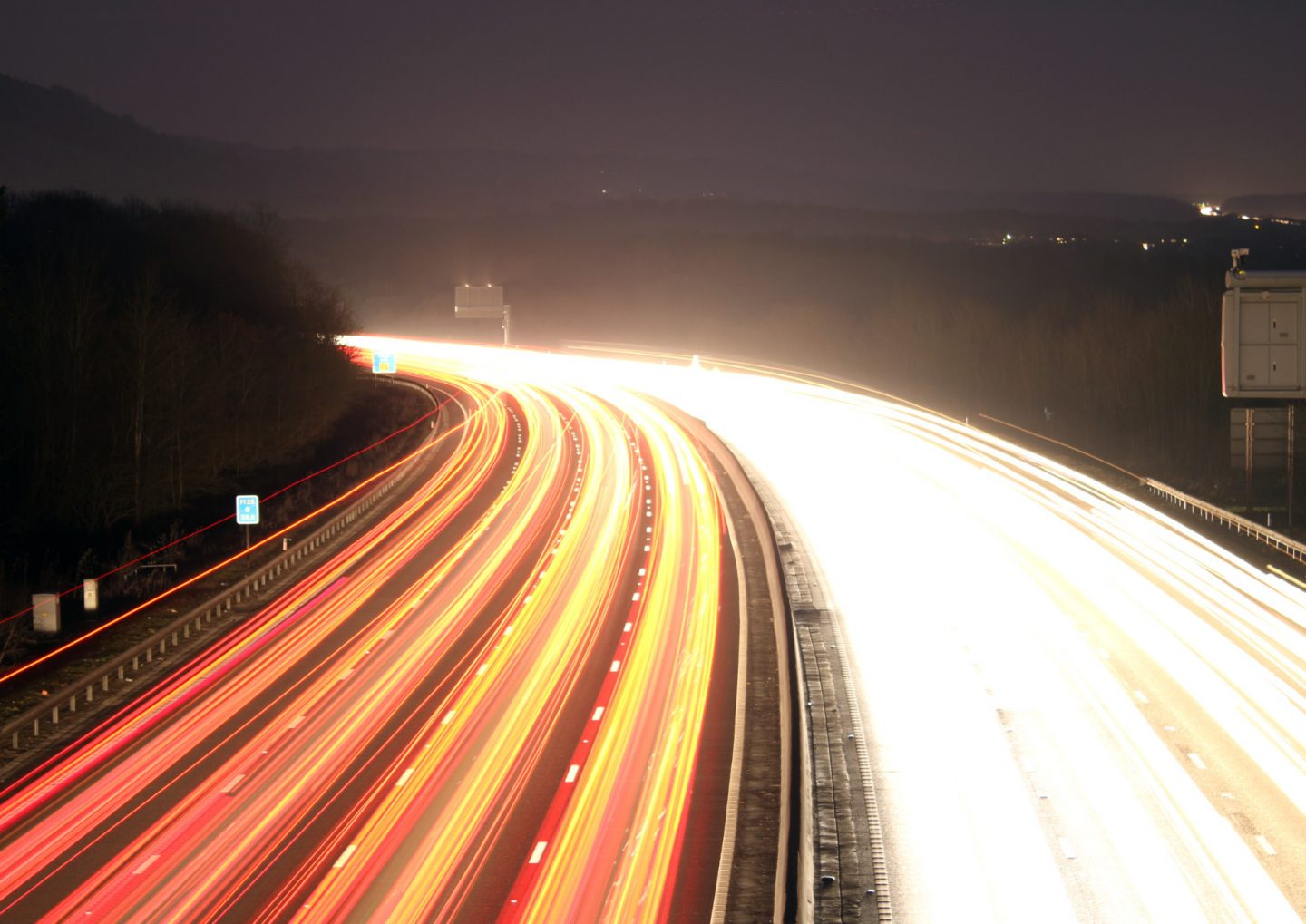 M25 at night photographed in 2017