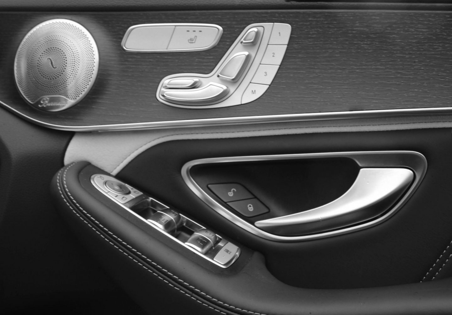 Inside driver's door of Mercedes-AMG C 63 S estate.