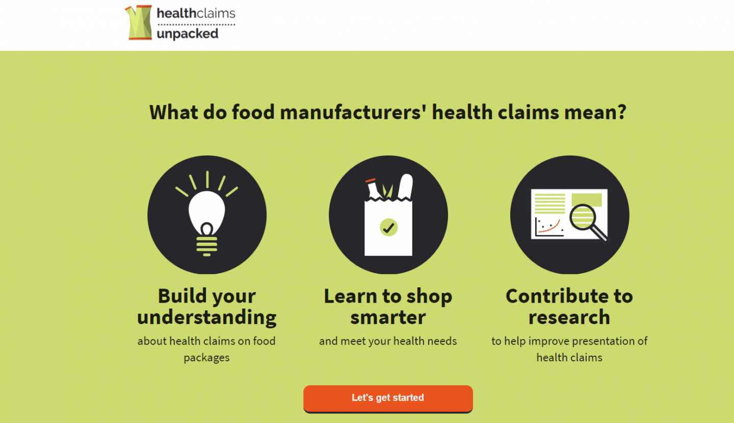 Health Claims Unpacked website screen shot examining food labelling.