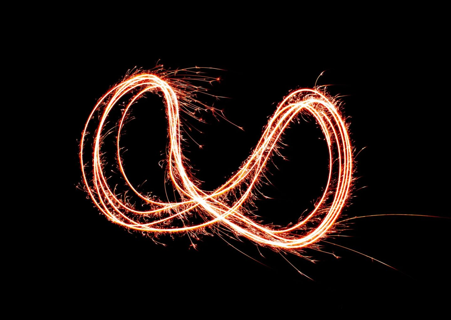 Long exposure photograph of a figure of eight taken using a sparkler. Lockdown Number 2 gave ma a chance to practise my photography.