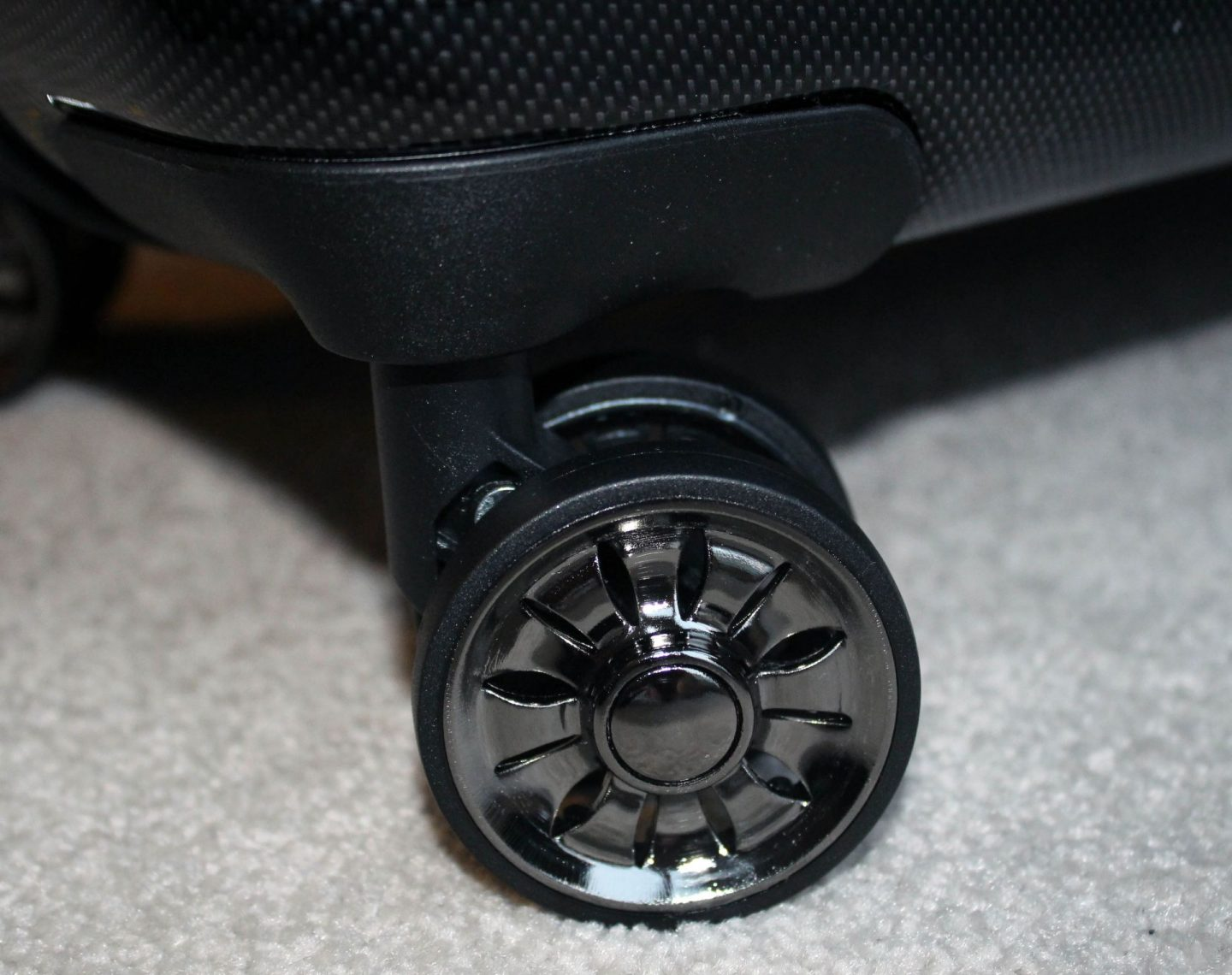 Pic of wheels on a suitcase.