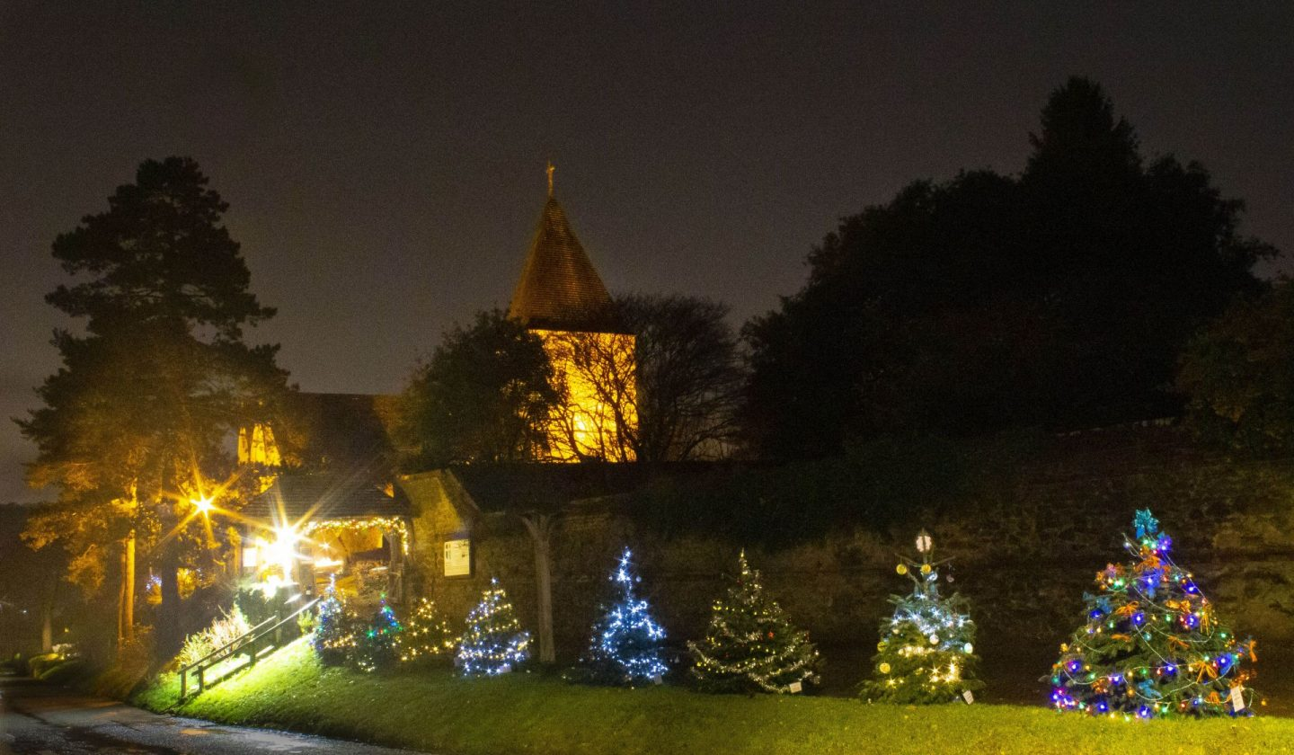 Image of Christmas decorations outside a church.