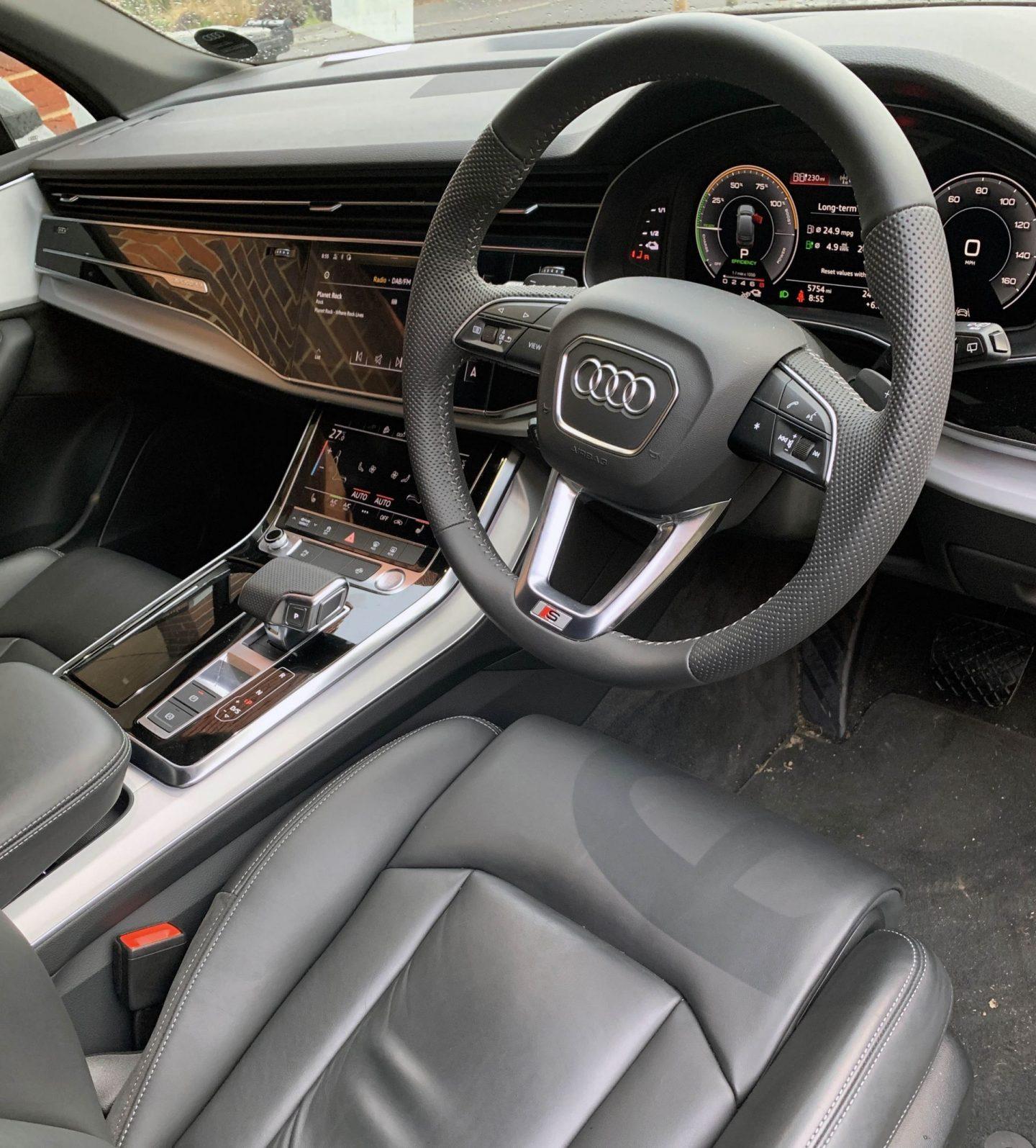 Interior of Audi hybrid Q7 SUV