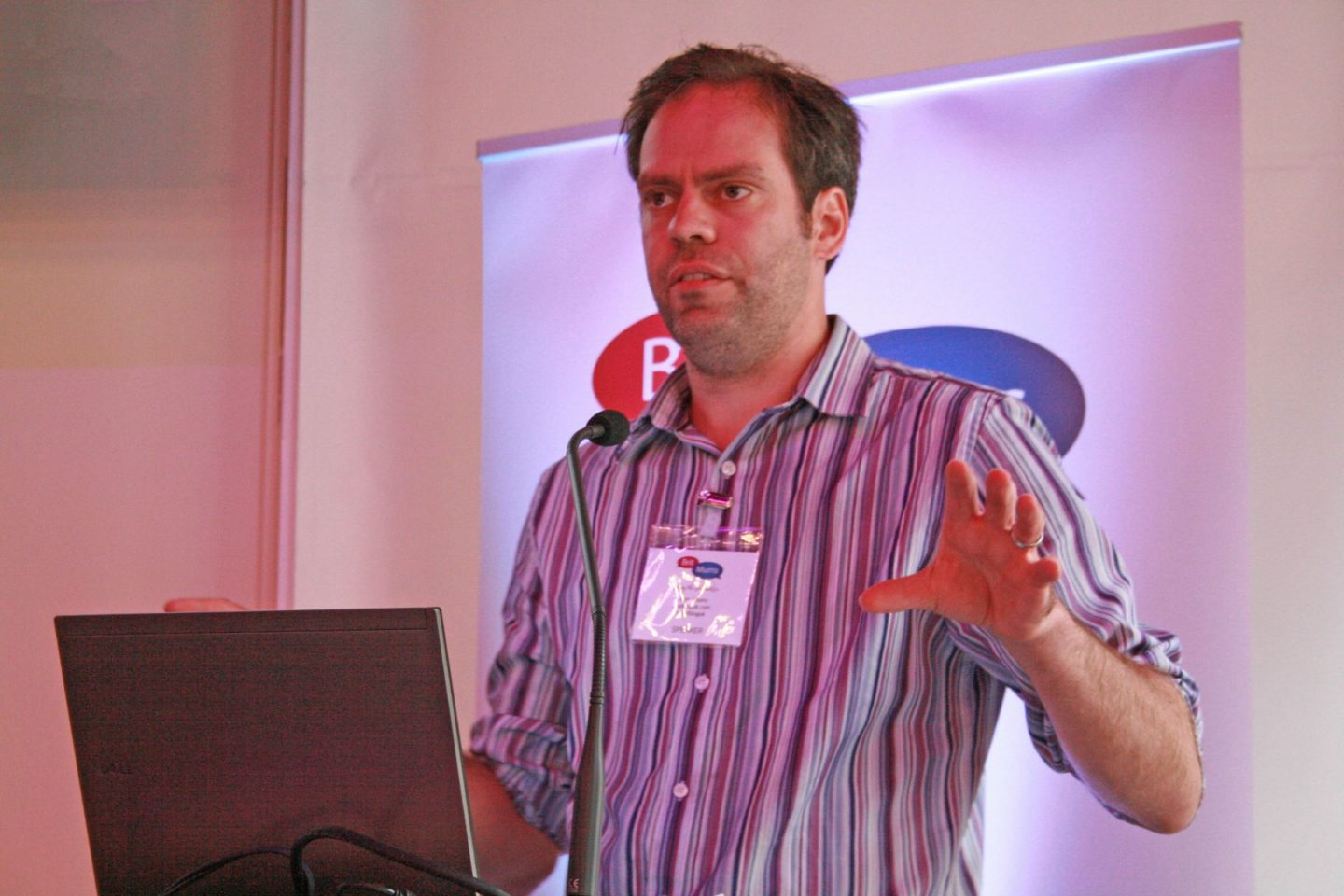 Blogger and content creator John Adams of Dadbloguk and Dadpoduk speaking at the Britmums conference in 2013