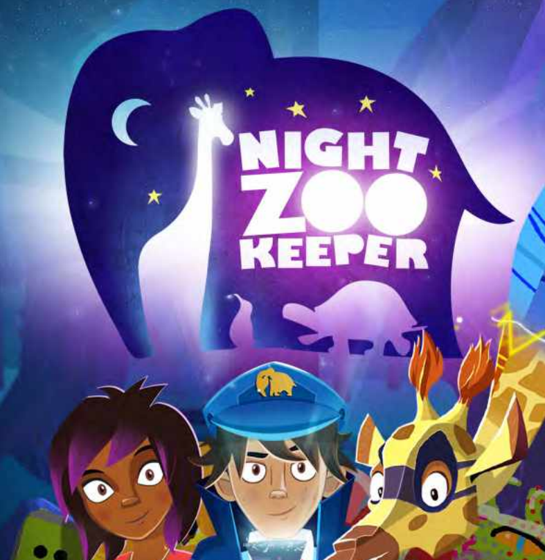 Night zookeeper logo and characters.