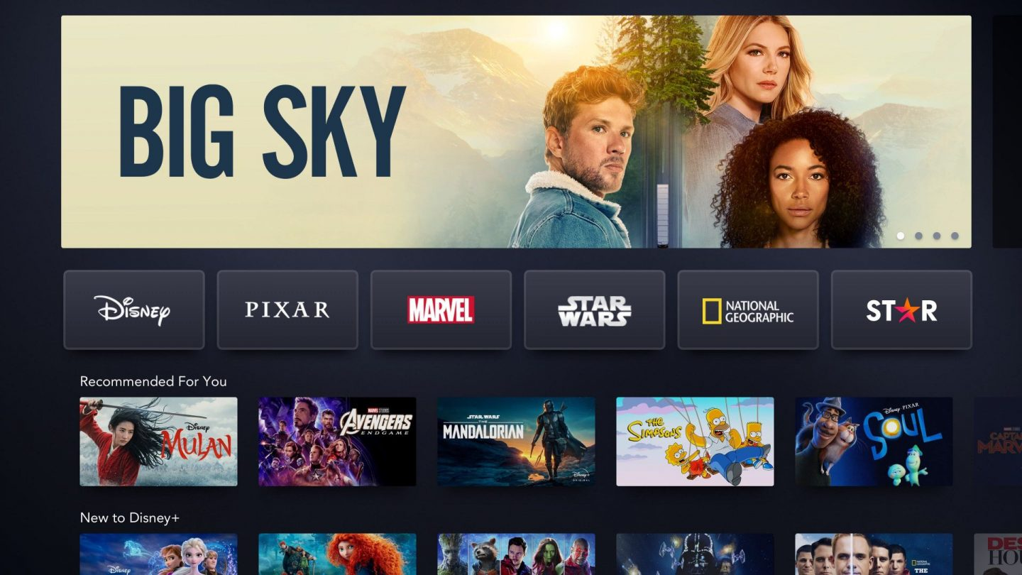 Big Sky banner on Disney+