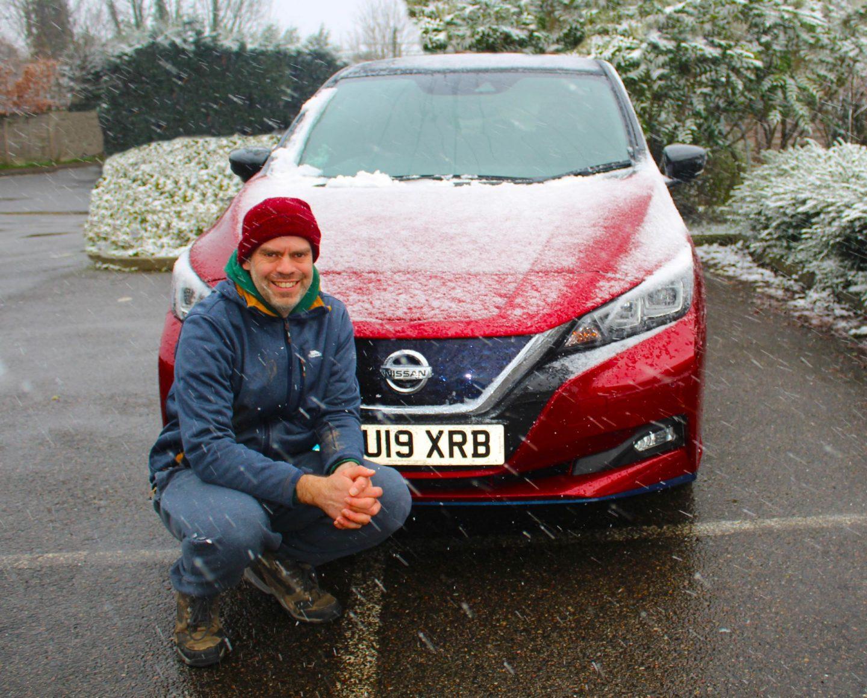 john Adams of Dadbloguk with car in the snow.