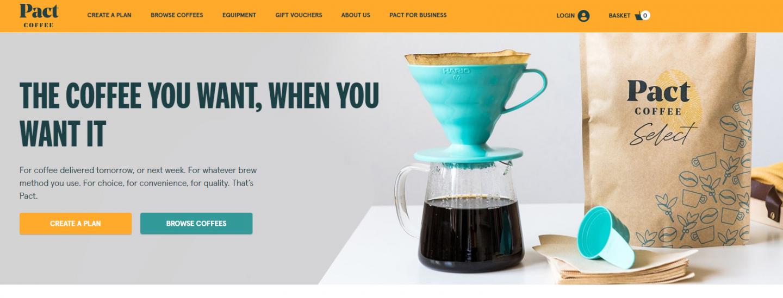Pact Coffee website screen grab