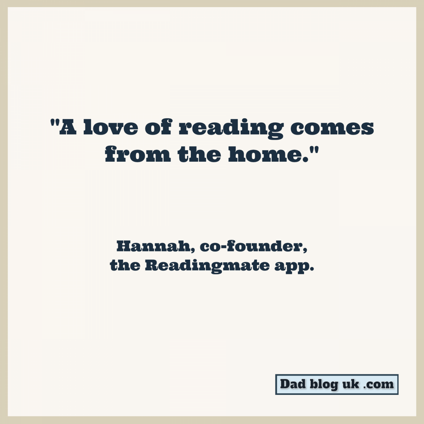 Quote about reading from Hannah, co-founder of the Readingmate app