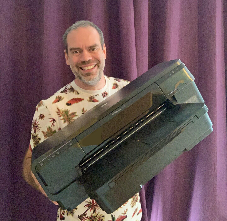 OfficeJet HP 7110 printer held by John Adams of Dadbloguk