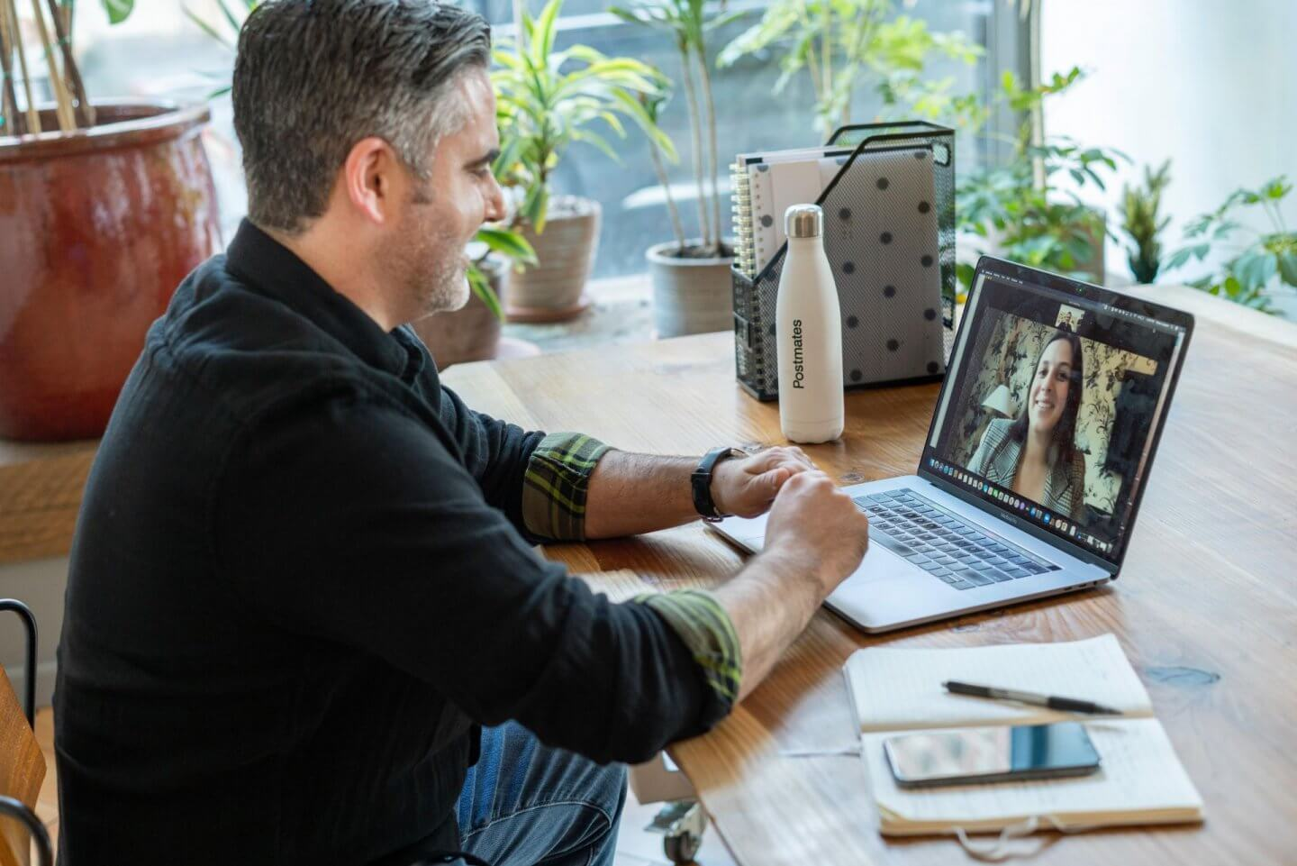 Freedom Day image. Man working from home.