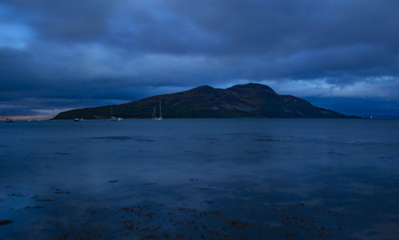 Long exposure image of Holy Isle of the Isle of Arran.