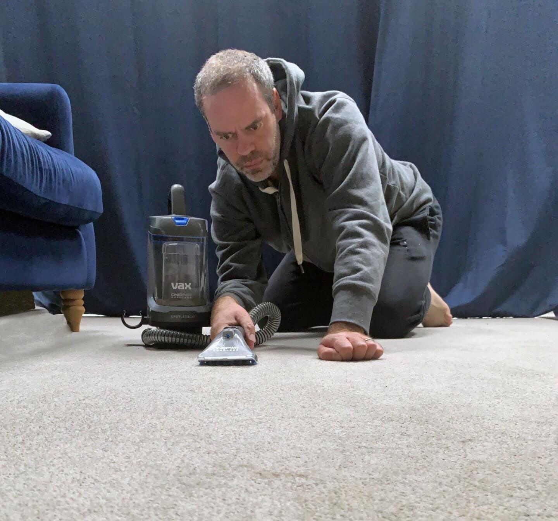 John Adams using Vax OnePWR spotless Go floor cleaner